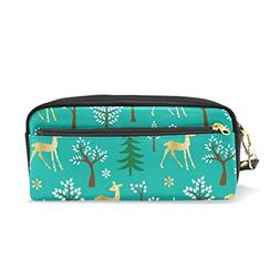 ColourLife Gold Glitter Deer Pattern On Green PU Leather Pen