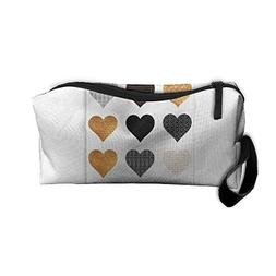 New Gold, Black, White Hearts Cosmetic Bag Pencil Case Trave