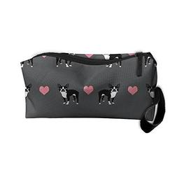TropicalFAS Grey Boston Terrier Love Hearts Cosmetic Pouch M