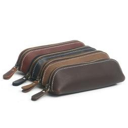 Handmade Cow Leather Pen Case Bag Zipper Pencil Pouch Brush