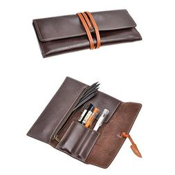 ZLYC Handmade Leather Pen Case Pencil Holder Soft Roll Wrap