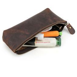 Handmade Retro Leather Pencil Pen Pouch Glasses Toolkit Dres