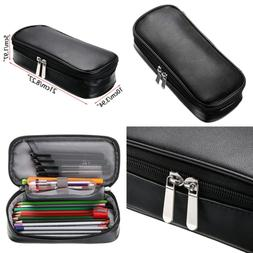 high capacity pu leather pencil case multifunctional