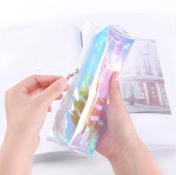 Holographic Clear Zip Pencil Case Make Up Cosmetic Pouch Coi