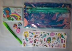 Holographic Pencil Case Notepad Gel Pen 3 Erasers and Sticke