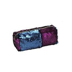 HS Women's Glitter Sequins Pencil Case, Reversible Double Co