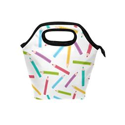 Insulated Cooler Bag Tote Lunch Bag Colorful Pencil Lunch Bo