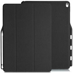 KHOMO iPad Pro 12.9 Inch Case with Pen Holder - DUAL Black S