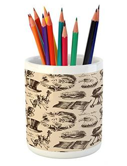 Ambesonne 4th of July Pencil Pen Holder, Vintage Americana E