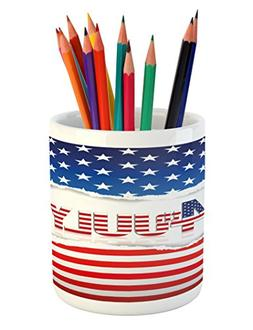 Ambesonne 4th of July Pencil Pen Holder, American Flag Old G