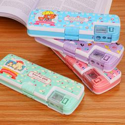 Cartoon Kids School Pencil Sharpener Case Girls Boys Pen Sta