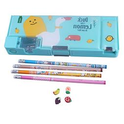 Kids Boy girl Green Magnetic Plastic Pencil Box Case With Pe