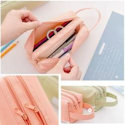 Kids Girls Handle Pencil Case School Stationery Bag Cosmetic