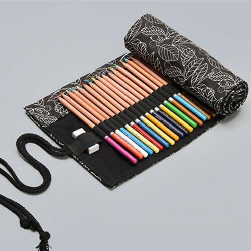 12/24/36/48 Holes Roll Up Bag Pen Holder Storage Pouch