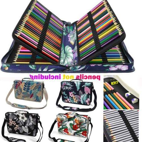 160 slots colored pencil case pu leather