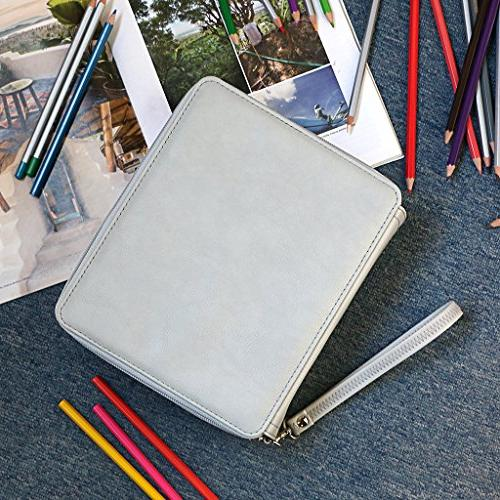 Organizer - Leather Pencil Case Holder With Removal Handle Strap Pencil Colored