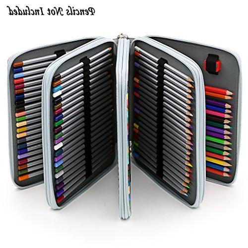 BTSKY160 Slots Organizer Deluxe PU Leather With Removal Handle Strap Pencil Box for Colored Watercolor