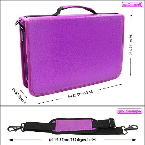 YOUSHARES PU Leather - Large Capacity Carrying Case for Prismacolor Pencils, Crayola Colored Marco Pens(Purple)