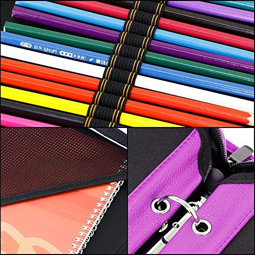 YOUSHARES Slots PU Leather - Large Case for Pencils, Colored Pencils, Marco
