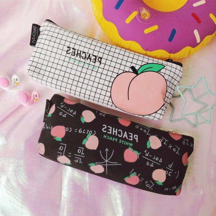 1pcs Peach Bag Case Stationery Pouch Gift
