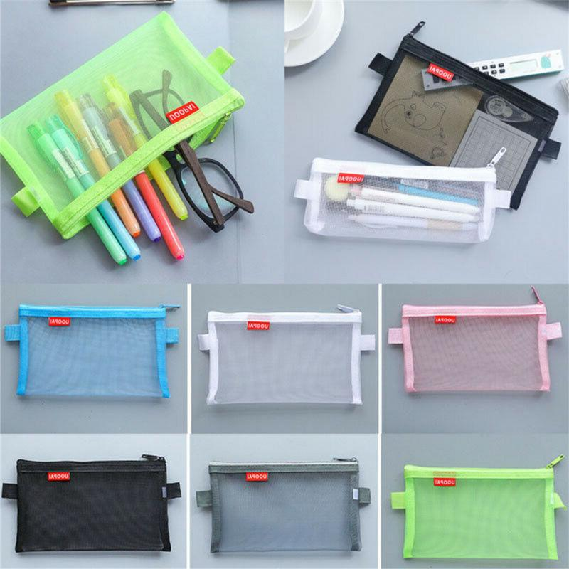 1x Transparent Clear Pen Pencil Mesh Portable Pouch Storage