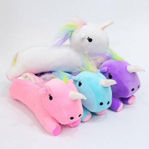 3D Cute Unicorn Soft Plush Cosmetic Bag Pouch Purse Pencil C