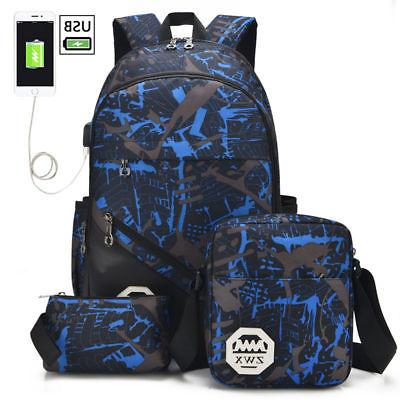 3pcs/set Boys School Bags Backpack for Teenagers Pencil Case