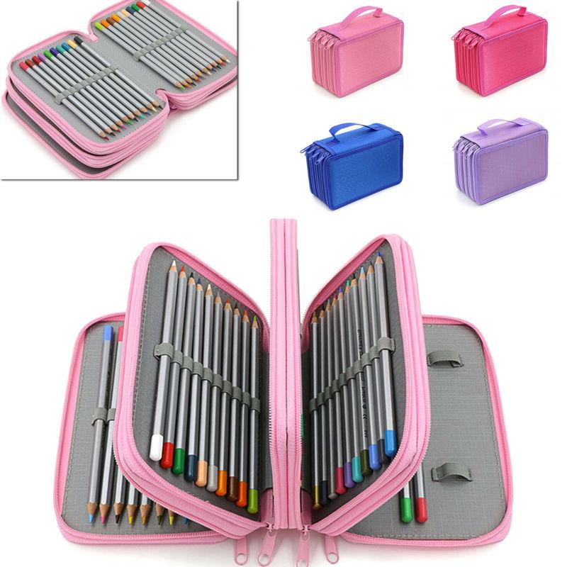 4 Layers Nice Capacity Pencil Brush Case Box Pen Pouch Bag M
