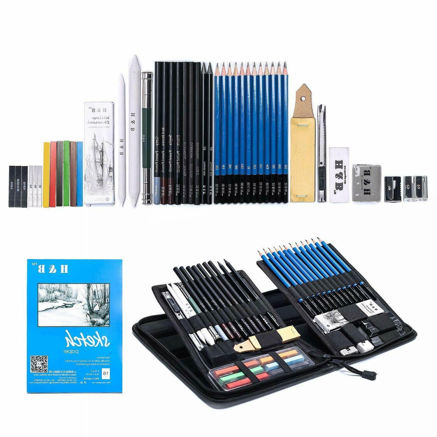 48 and Drawing Pencil Set Art Kit Zippered Carry