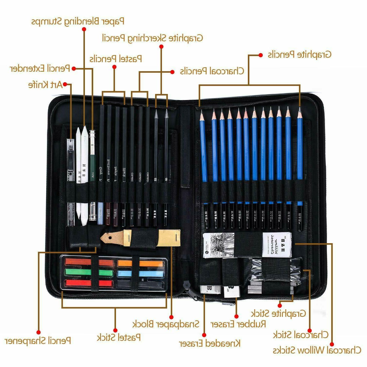 48 Sketch Drawing Pencil Art Carry Case