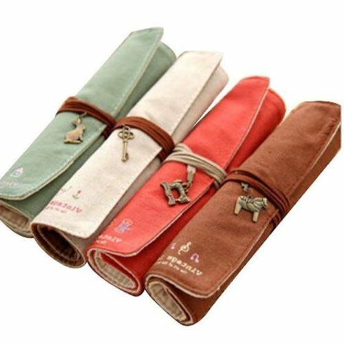 4Pcs Canvas Wrap Roll Up Pencil Bag Pen Case Holder Makeup B