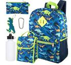 6-In-1 Backpack Set T-Rex Dinorsaur Pencil Case KeyChain Wat