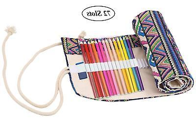 Colored Pencil Holder Canvas Pencil Wrap, Coideal Colored 72