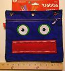 NWT Large Zipit Googly Purple Monster Face 3 Ring Pencil Cas