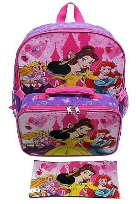 Disney Princess Girls Backpack with Lunch Kit and Pencil Cas