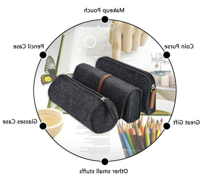 Pencil Case, 3 Pack Pen Case Holder Cosmetic Pouch Dark