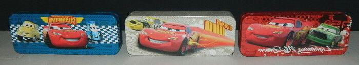 Walt Disney's Cars Characters Set of 3 Tin Catch All Pencil