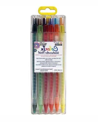 Color-In Watercolor Twist Pencil Assorted 12pc. Set w/Case