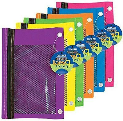 BAZIC Bright Color 3-Ring Pencil Pouch-Mesh Window Case Pack