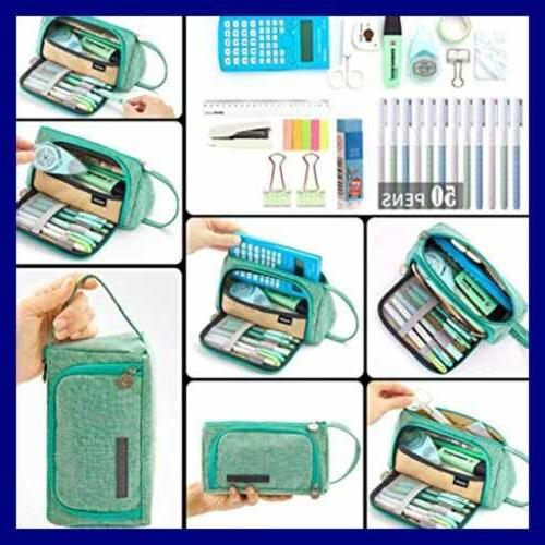 Big Capacity Pencil Bag Pouch LARGE Storage Marker Stationery Or