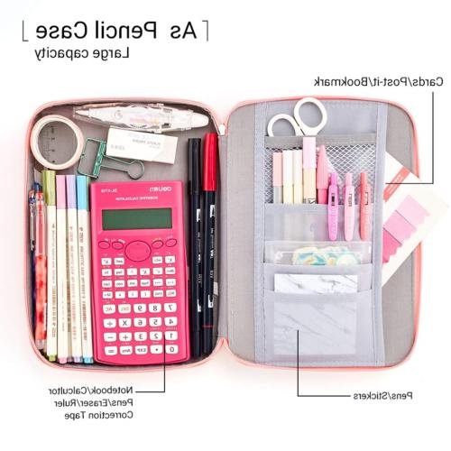 EASTHILL Capacity Pencil Pen Case Organizer Large Storage for Pink