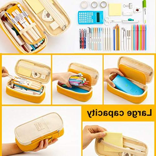 EASTHILL Big Capacity Pen Case School Large Storage Capacity Box Yellow New Arrival