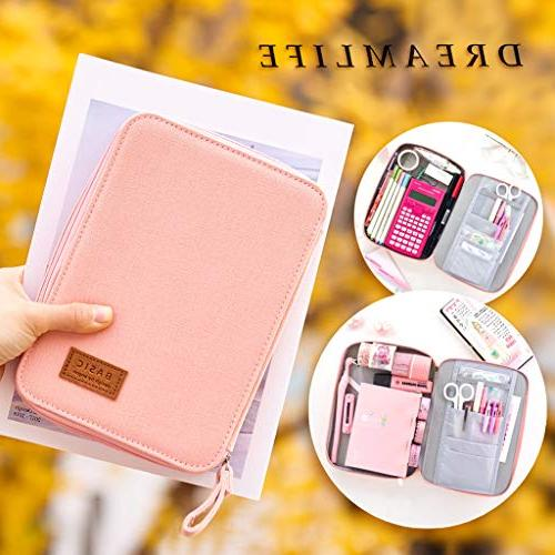 EASTHILL Pencil Pen Case Pouch Box Organizer Large Storage for Bullet Pink