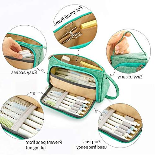 EASTHILL Pen Case Holder for Middle School Office Adult Large Storage Green