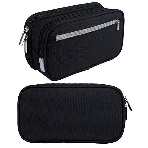 Black Case Holder High Capacity Pencil Bag Pouch with Zipped Multi Compartments