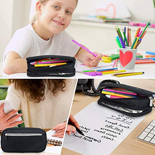 Black Pencil Case Bag Holder for School College Adults Boy Large Capacity Pencil Bag Zipped