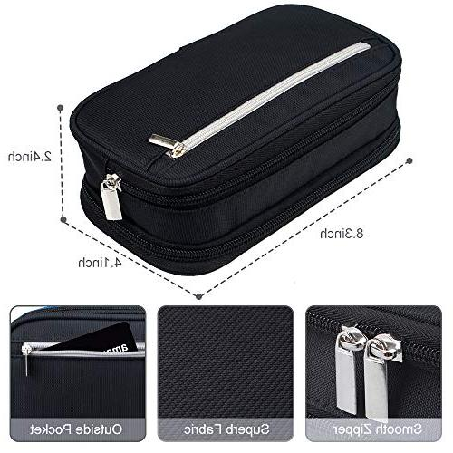 Black Case Pen Holder Middle High School College Office Adults Boy Large Capacity Pencil Bag Cosmetic Zipped