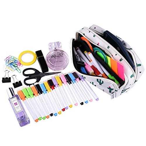 SIQUK Case Large Capacity Double Pen Bag Office Organizer Bag with Gilrs and Adults
