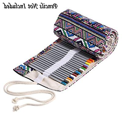 Canvas Wrap Roll Up Pencil Case Adult Coloring Holder Organi
