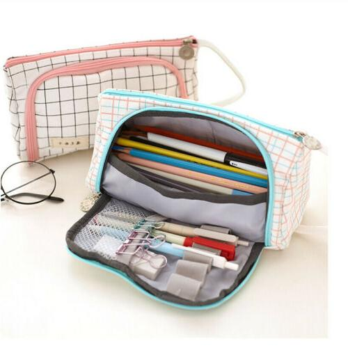 US Pencil Case Portable Travel Make Up Toiletry Zipper